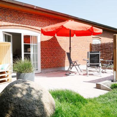 Terrasse der Ferienwohnung Achtern Diek