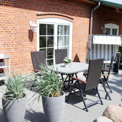 Terrasse der Ferienwohnung Utspann
